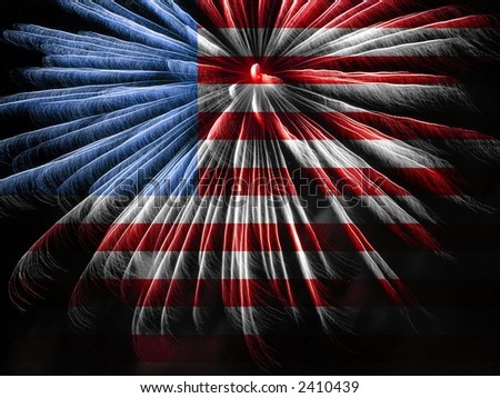 American Flag colors and Fireworks - stock photo