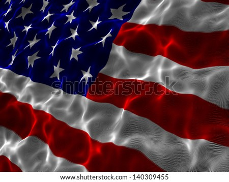 American flag consisting of points. Close up.