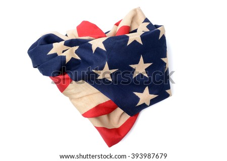 american flag crumpled and heart shape abstract on white background - stock photo