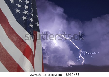 American flag displayed during an electrical storm - stock photo