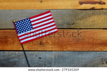 American Flag displayed on pallet boards, Memorial Day, 4th of July - stock photo