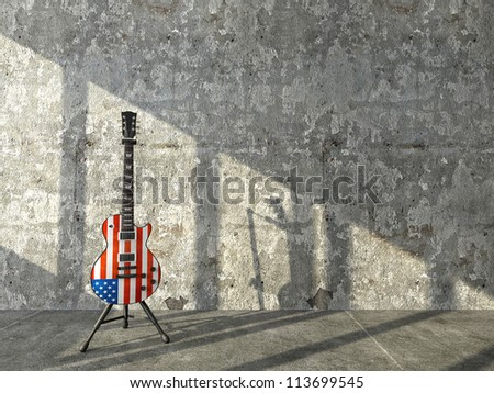 American flag electric guitar against a concrete wall