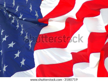 American Flag Flowing, 4th of July High Key Colors,old glory - stock photo
