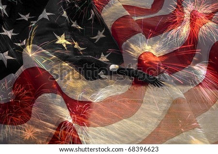 American Flag, flying bald Eagle and Constitution montage - stock photo