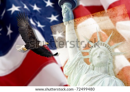 American Flag, flying bald Eagle,statue of liberty and Constitution montage - stock photo