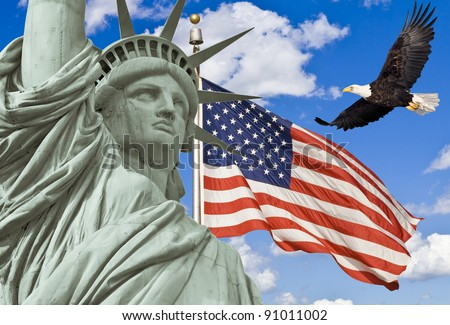 American Flag, flying bald Eagle,statue of liberty montage - stock photo