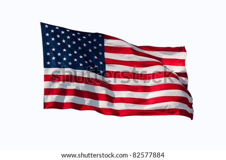 American flag flying in the wind, isolated on white.