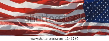 American flag flying in the wind. This one is a wide version suitable for web site banners etc.