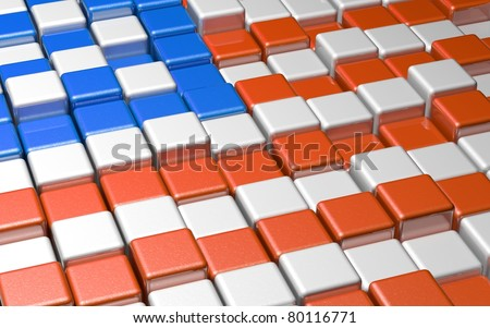 American Flag Formed by 3D Cubes - stock photo