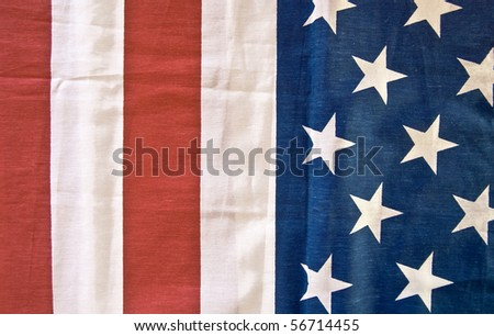 American flag. Fragment. Close-up.