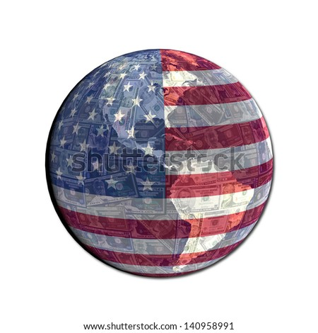 American flag globe with currency illustration - stock photo
