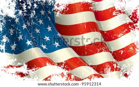 American Flag Grunge - stock photo