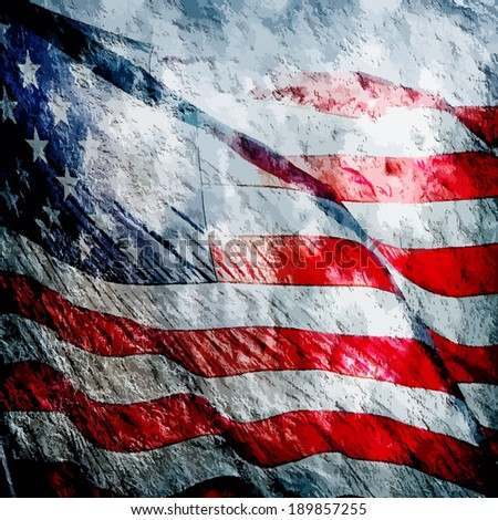 American flag grungy vintage textured background - stock photo