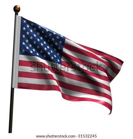 American flag. High resolution 3d render isolated on white.