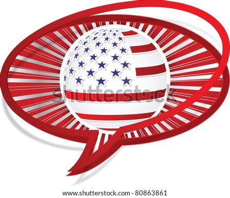 american flag icon - stock photo