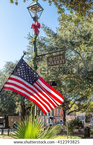 American flag in City Market in Savannah, Georgia - stock photo