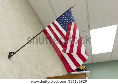 American Flag in Classroom  - stock photo