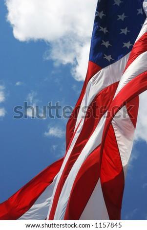 American flag in gentle breeze - stock photo