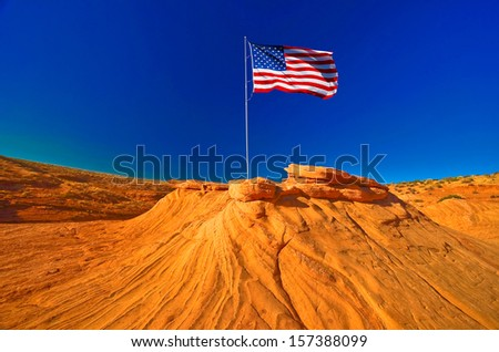 American flag in Grand Canyon, USA - stock photo