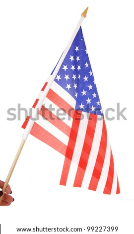 american flag in hand isolated on white - stock photo