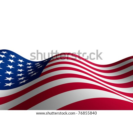 American flag in horizontal perspective with motion curving the shape of the stars and stripes representing patriotism and pride. - stock photo