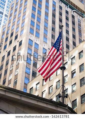 American flag in manhattan New York - stock photo