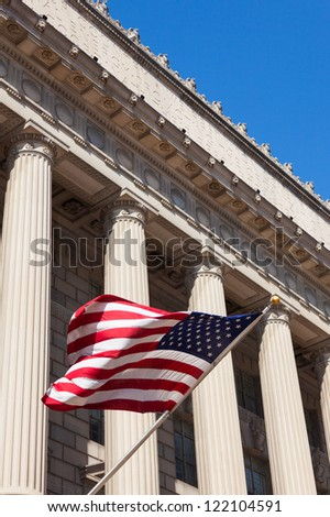 American flag in  the department of commerce building in Washington - USA - stock photo