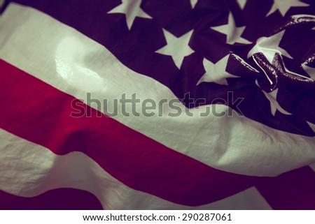 American flag in water ( Filtered image processed vintage effect. ) - stock photo