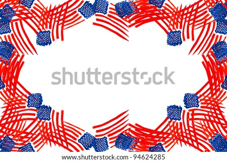american flag independence day drawing watercolor background texture of frame with space for messages