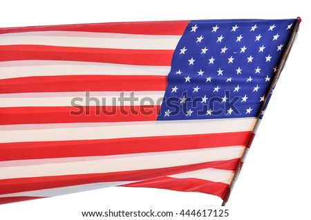 American flag is flying in white background.