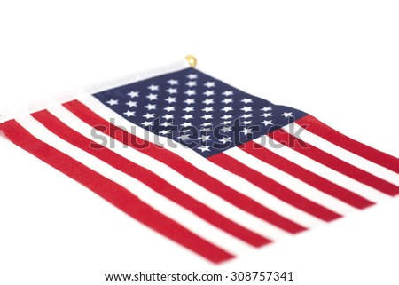 American flag  isolated on white - stock photo