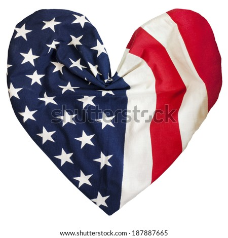 American flag isolated on white background, folded in to heart shape - stock photo