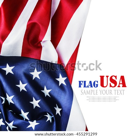 American flag isolated on white background. Text for example removed - stock photo