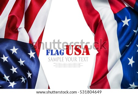 American flag isolated on white background. Text for example removed