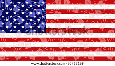 American flag made of hands, national concept - stock photo