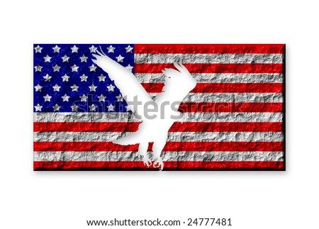 American flag made of stone with carved eagle silhouette