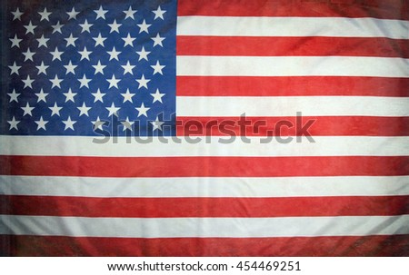 American flag of the USA with a texture and a vignette.  - stock photo