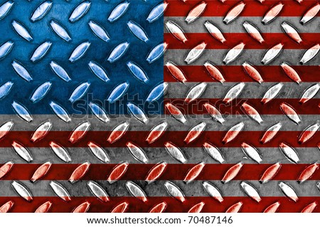 American Flag On a Diamond Metal Texture - stock photo