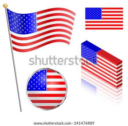 American flag on a pole, badge and isometric designs illustration.