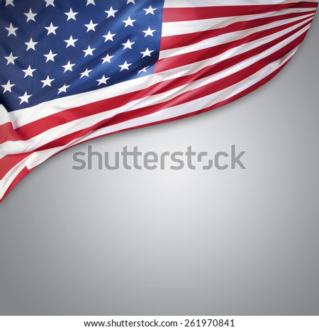 American flag on grey background - stock photo