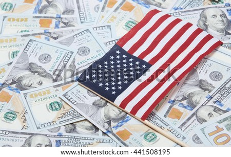 American flag on one hundred dollars banknotes - stock photo