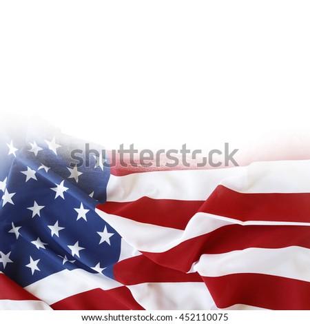 American flag on plain background - stock photo