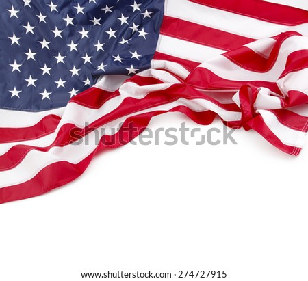 American flag on plain background, copy space - stock photo