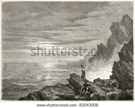 American flag on the edge of Arctic ocean during Kane expedition in 1853. Created by Jules Noel after Kane, published on Le Tour du Monde, Paris, 1860 - stock photo