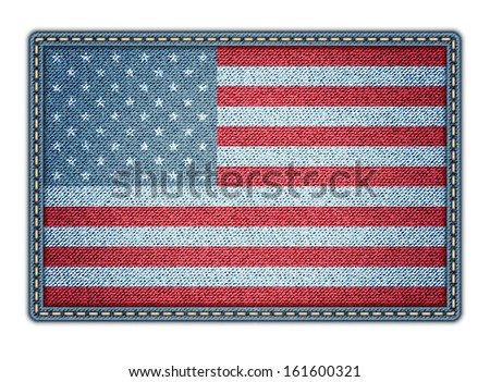 American flag on the jeans texture. Jpeg version. - stock photo
