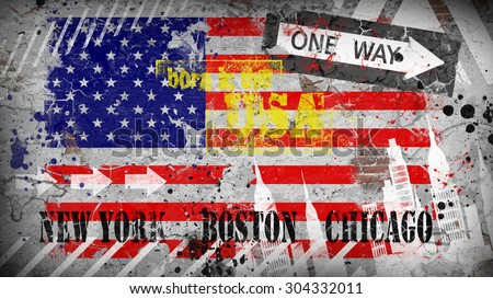 American flag on the wall. Grunge background - stock photo