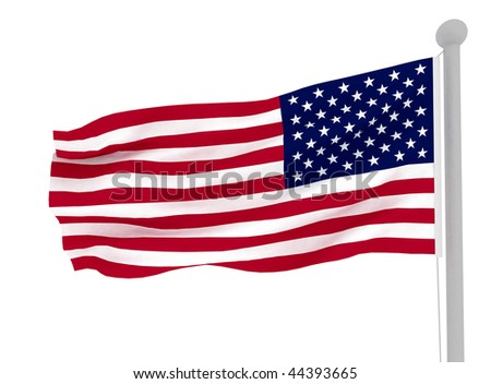American flag on white . 3d render