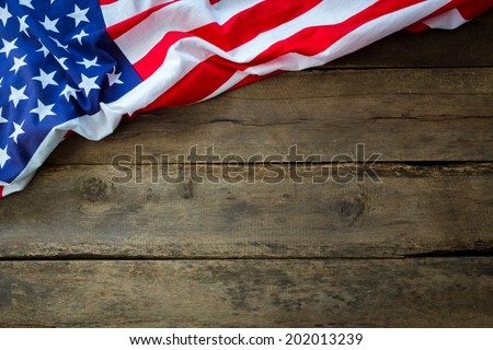 American flag on wood background - stock photo
