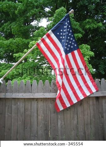 American flag outside - stock photo