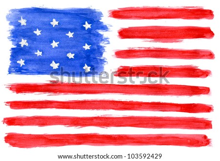 American flag painted colors by hand - stock photo